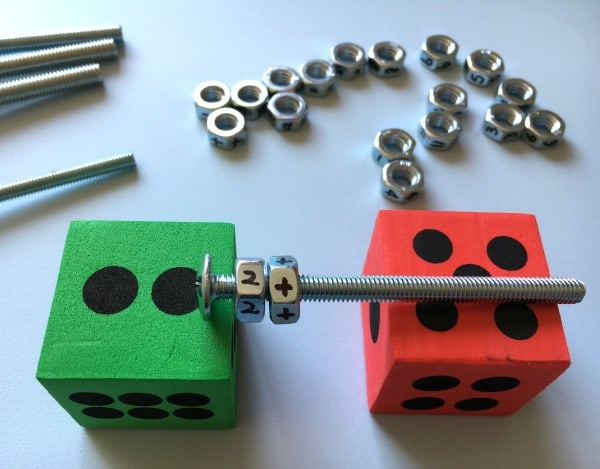 Hands-on mathematics for supporting the writing of number sentences and getting to grips with addition using nuts and bolts.