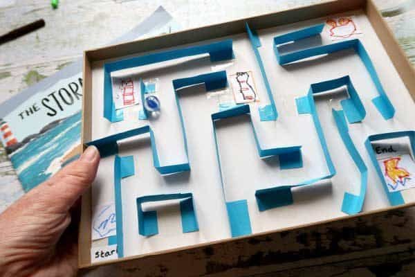 Create a fun and simple maze with kids that uses items from the recycling and junk modelling box as well as toys. Ideal to make and play with.