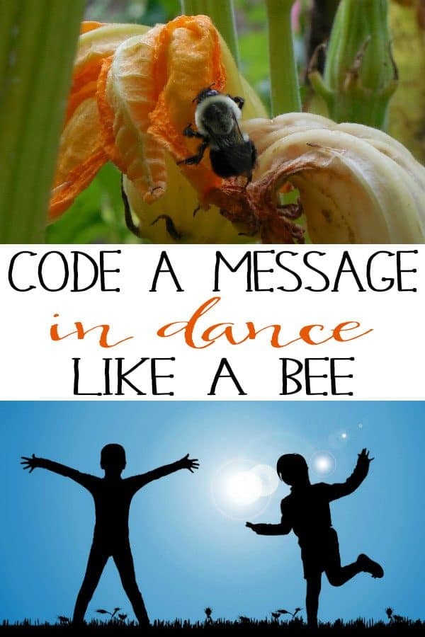 Collage of kids dancing and bee with text reading Code a Message in dance like a bee