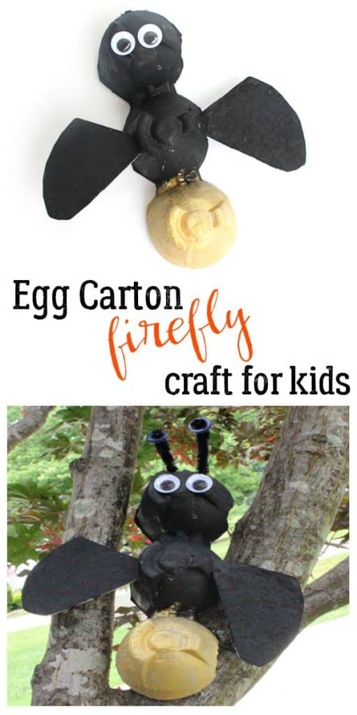 Simple summer themed craft for kids to make some easy egg carton Fireflies inspired by The Very Lonely Firefly by Eric Carle.