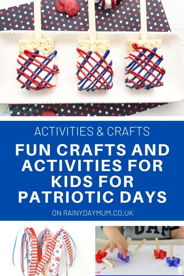 Fun crafts and Activities collage for patriotic days