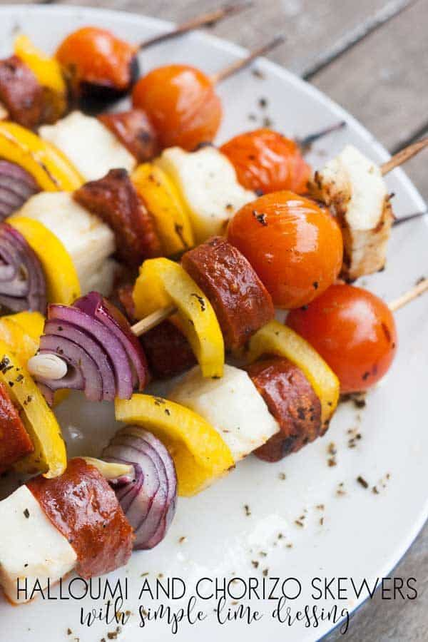 Halloumi and Chorizo Kebabs with a Simple Lime Dressing