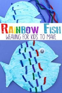 Simple fine motor activity and paper plate craft for kids to make and do inspired by the book The Rainbow Fish by Marcus Pfister.