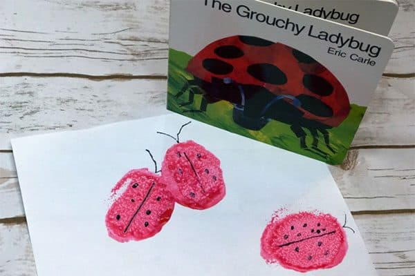 Art project inspired by the Eric Carle book A Grouchy Ladybug to make your own simple stamps. Ideal for toddlers and early preschoolers.