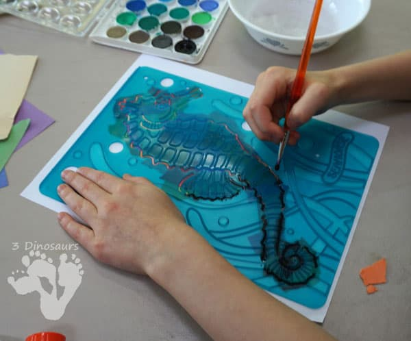 Inspired by the book Mister Seahorse by Eric Carle create beautiful colourful seahorses from torn paper and stencils in this simple art project.