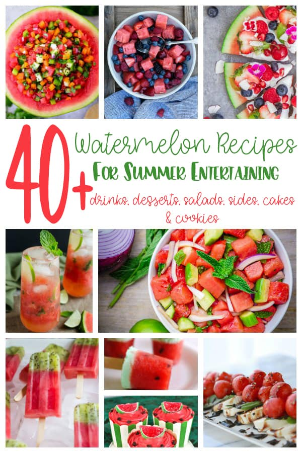 Delicious summer recipes with watermelon for your next party, picnic or BBQ. From Salads to Slushies, cakes and cookies perfect for entertaining.