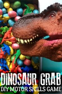 Create your own dinosaur game inspired by the classic children's game Hungry Hippo that works on fine motor and gross motor skills.