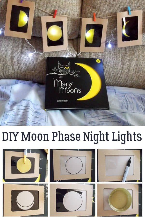 Collage showing the creation of the phases of the moon craft for kids