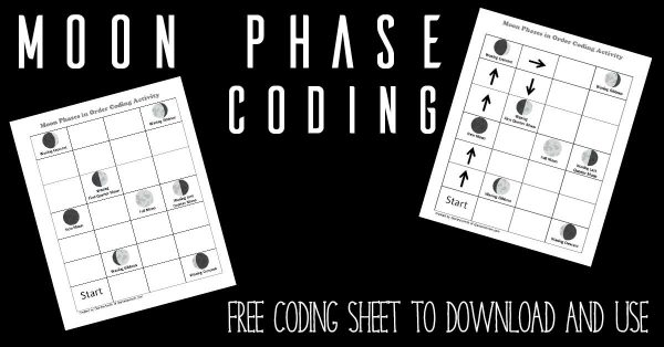 Help your child learn coding and the phases of the moon at the same time with this simple STEM activity for space themed learning