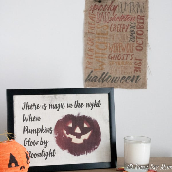 Add a little rustic charm to your home decor with some DIY Burlap Printed Halloween Decor created on Photoshop Elements and printed at home on your inkjet.