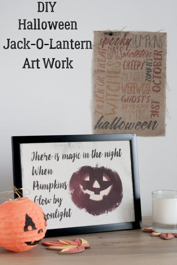 DIY Printed Burlap Halloween Art Work