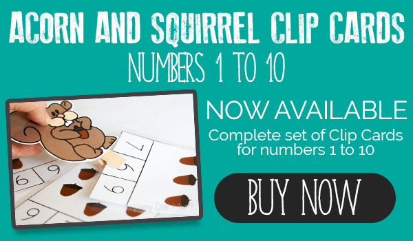 Purchase the set of Acorn and Squirrel Clip and Count Cards in the store if you don't wish to join the Rainy Day Tots Facebook Group.
