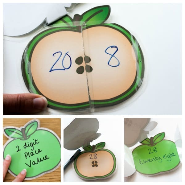 Create your own wipeable apple booklet to use when working with place value on 2 digit numbers with flip out sections to separate tens and units.