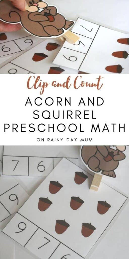 Clip and Count Acorn and Squirrel Cards for Preschool Math
