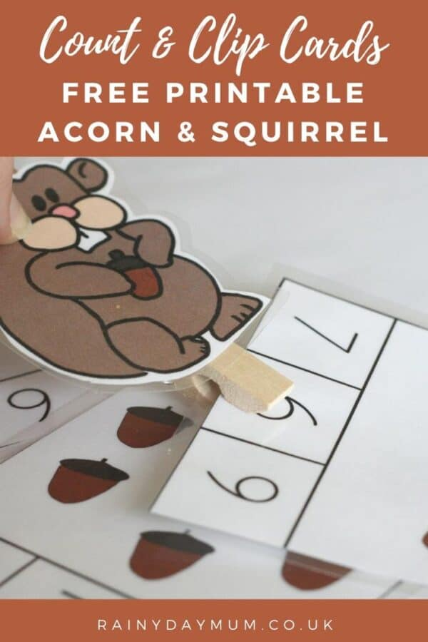 Count and Clip Free Printable Squirrel and Acorn Cards