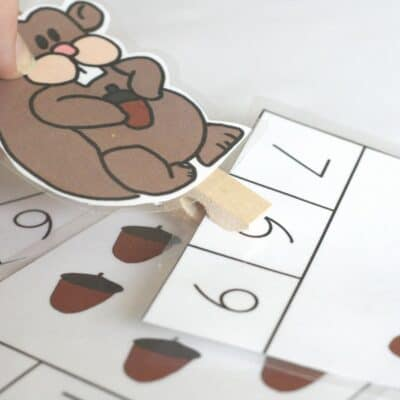 Free Printable Squirrel and Acorn Count and Clip Cards for Preschoolers