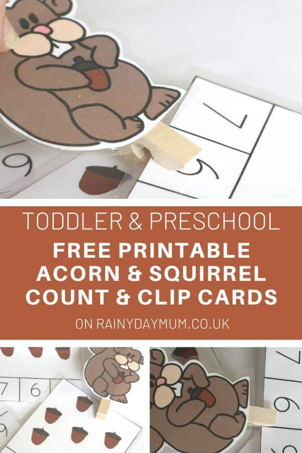 Toddler and Preschool Math - FREE Printable Count and Clip Cards for Fall and Hibernating Animals