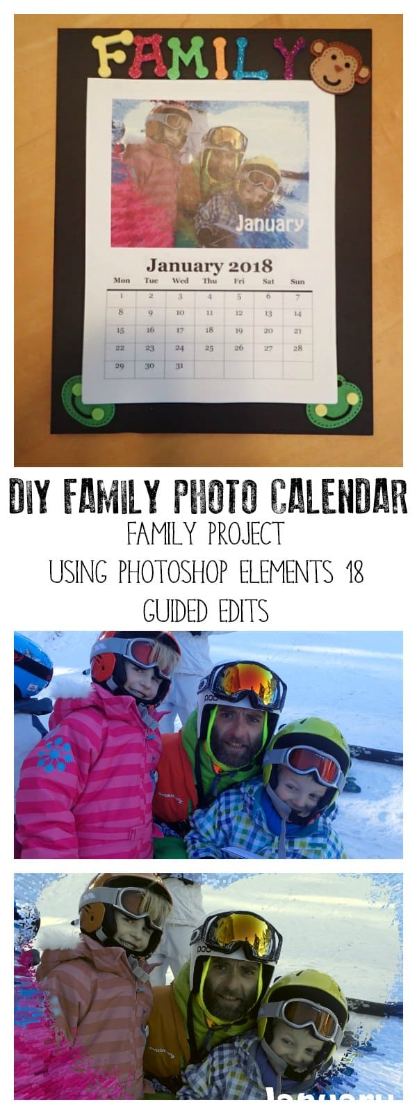 Fun photo project for families to make a DIY Family Photo Calendar using Adobe Photoshop Elements 2018.