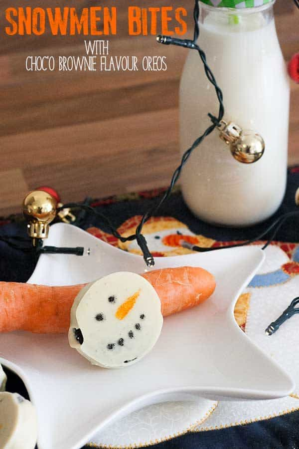 Smooth and delicious Snowmen Choc'o Brownie Flavour Oreo bites, only 3 ingredients and made in a few minutes perfect for Christmas Treats for all the family
