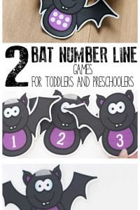 Two Bat-themed number games for toddlers and preschoolers based on the featured book Stellaluna by Janell Cannon. Ideal for Nocturnal Animal Units of Study.