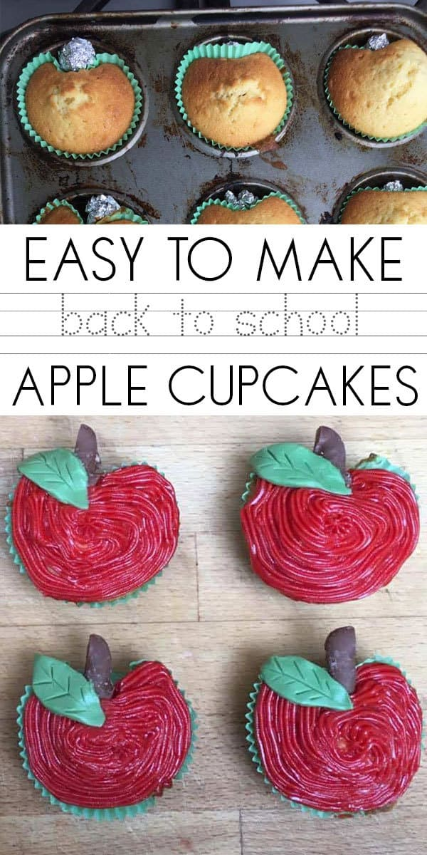Simple easy to make back to school apple cupcakes. Perfect as a little treat for your kids before they head back to school.