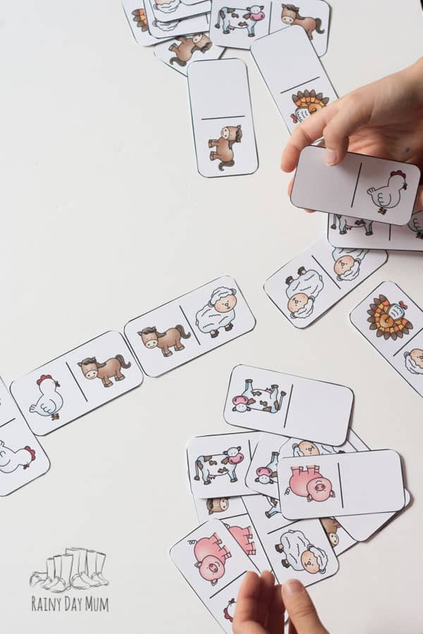 farm animal printed domino pieces on the table