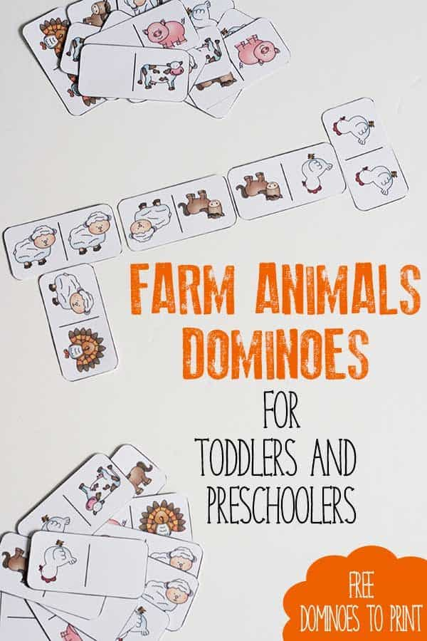Download and Print your own Farm Animals Dominoes to Print and Play ideal for activity for toddlers and preschoolers throughout the year. Inspired by the book Click, Clack, Moo: Cows that Type by Doreen Cronin.