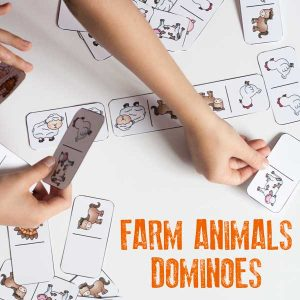 Farm Animal Picture Domino Game to Play with Toddlers and Preschoolers