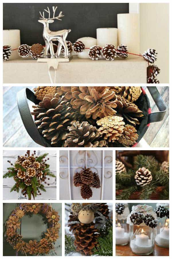 Fifteen Beautiful Rustic Pine Cone Crafts to create this year for Christmas and Winter Decorations to bring the outside in for your home.