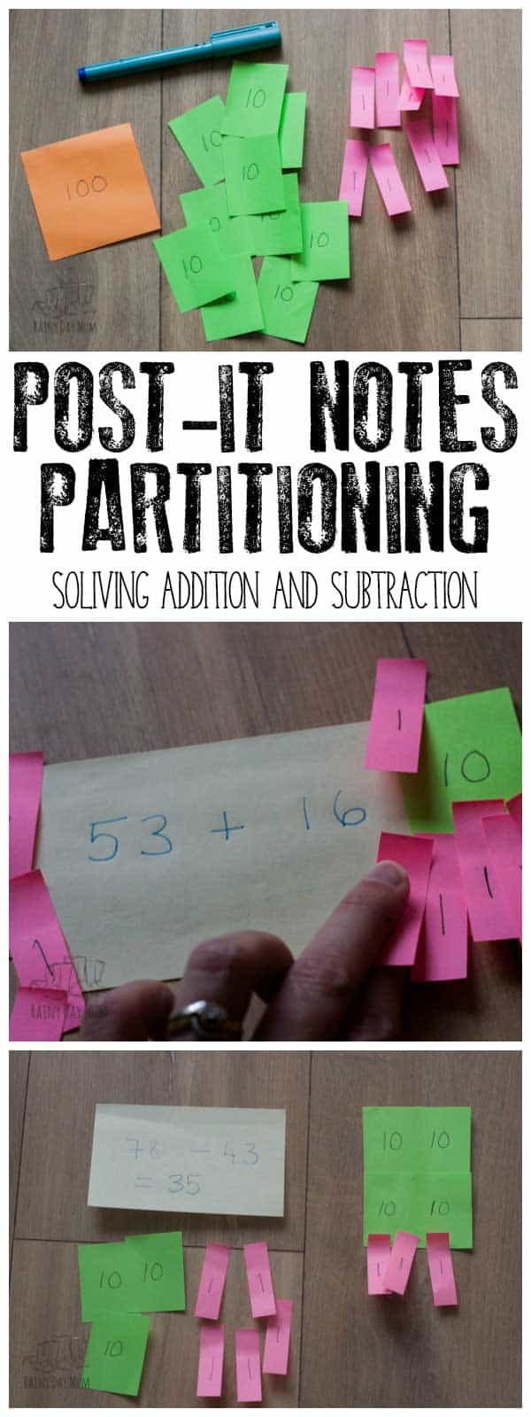Hands-on mathematics to solve simple addition and subtraction problems with 2-Digits using partitioning and Post-it Notes.