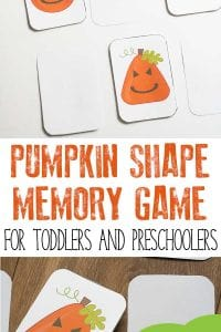 Pumpkin themed shape game for toddlers and preschoolers. Inspired by the book Five Little Pumpkins this memory game can be Printed and Played with for FREE. #vbcforkids #totschool #preschoolathome