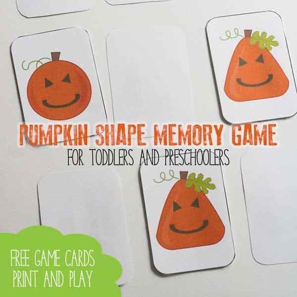 pumpkin shape memory game for preschoolers