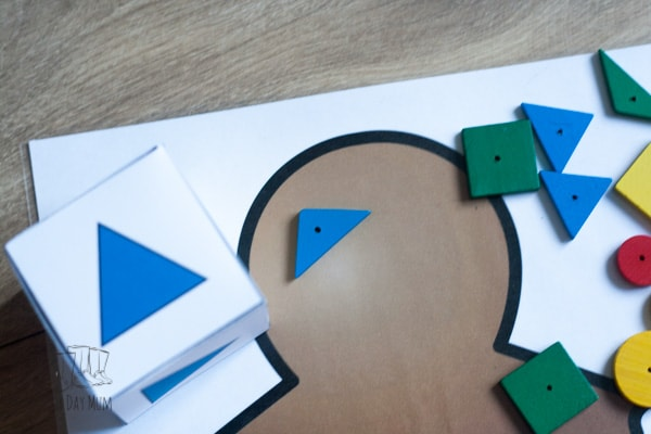 Multiple player DIY math game inspired by The Gingerbread Man focusing on learning basic shapes ideal for toddlers and preschoolers to play.
