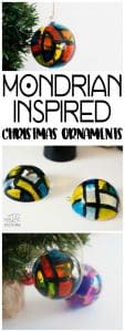 Colourful and bright Mondrian Inspired Christmas Bauble decorations for the tree for Kids to Make for the festive season.