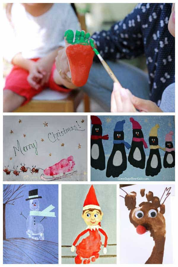 Fun Christmas footprint crafts and pictures to make with toddlers and preschoolers as you countdown to Christmas and get creative together.