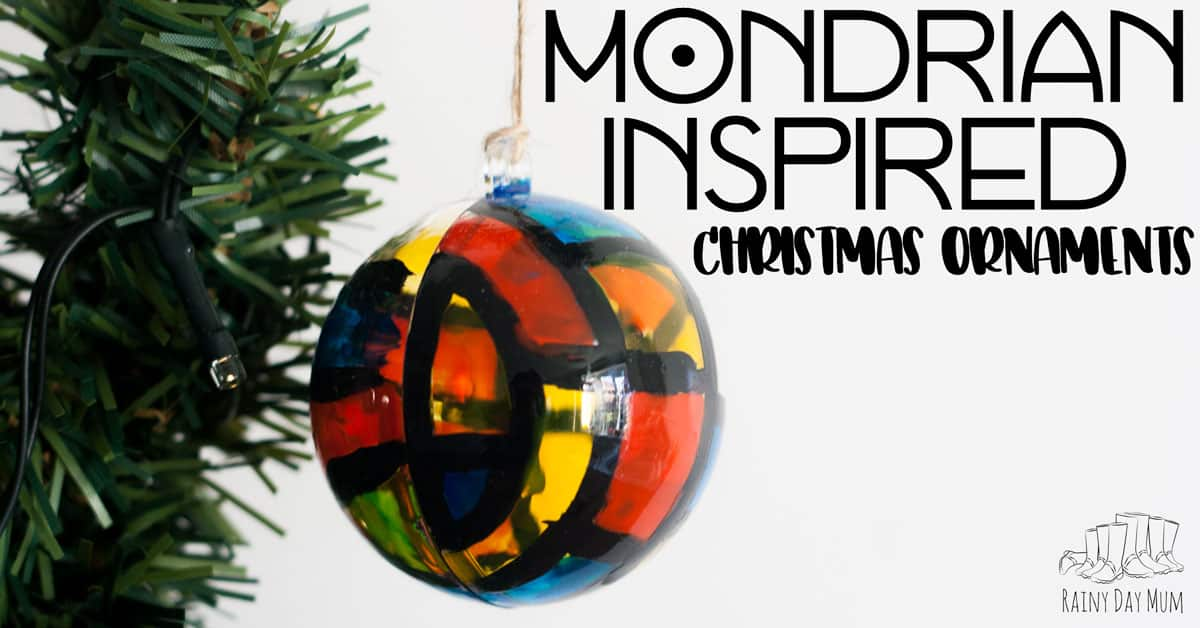 Mondrian Inspired Christmas Ornaments For Kids To Make