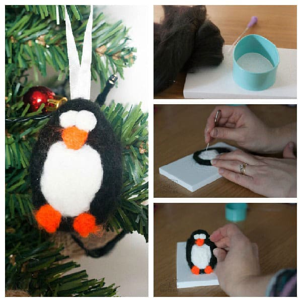 This easy needle felted penguin Christmas tree decoration is an ideal beginner project for yourself of the kids to give needle felting a try.
