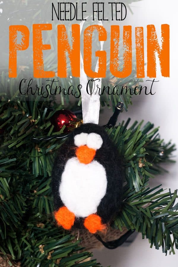 Needle Felted Penguin Christmas Ornament