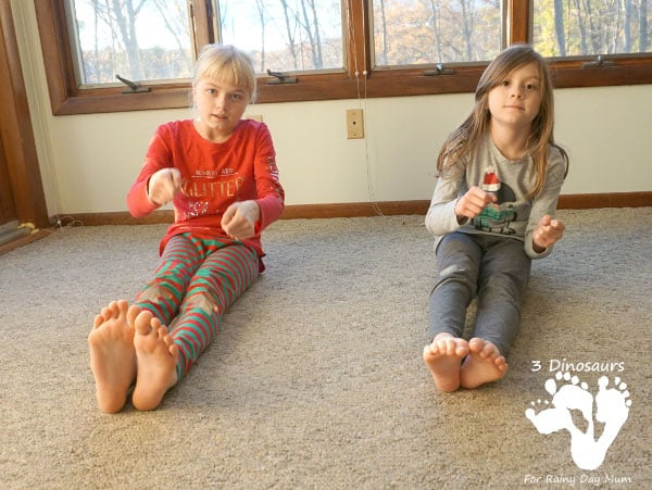 Christmas themed gross motor activities to keep kids active during the Christmas Season based on the story and song Rudolph the Red-Nosed Reindeer.