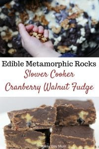 Edible science experiment to make Slow Cooker Walnut and Cranberry Fudge as an example of Metamorphic Rocks