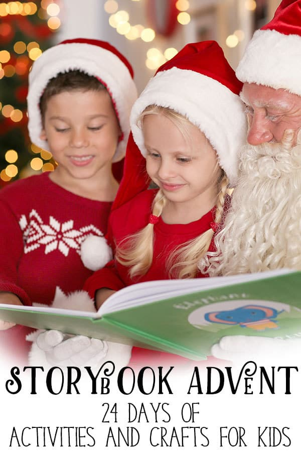 children reading with father christmas