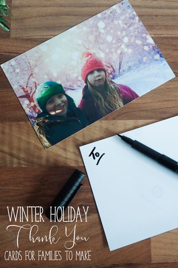 Use the new guided edit replace background in Photoshop Elements 2018 to create a winter holiday thank you card ideal for the children to send post-Christmas to thank friends and relatives for their gifts.