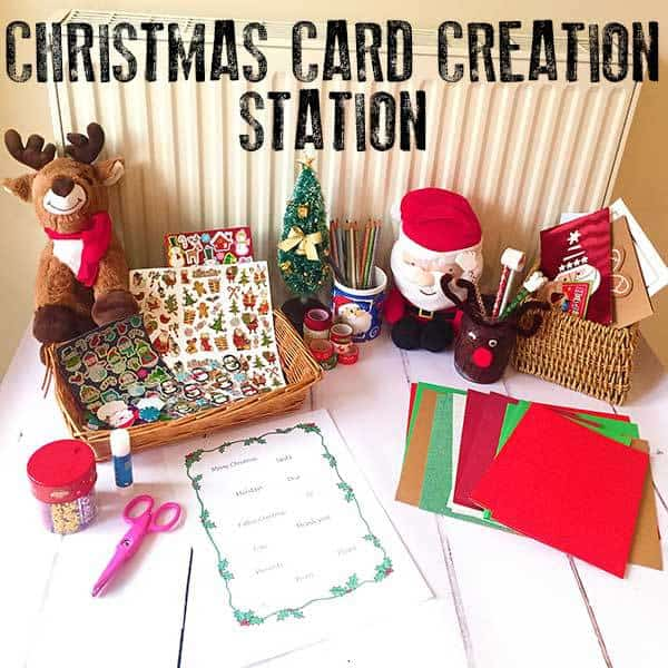 Christmas inspired art and craft activity for kids of different ages to do together. Full instructions on setting up your own Christmas Card Creation Station with ideas for resources to include.