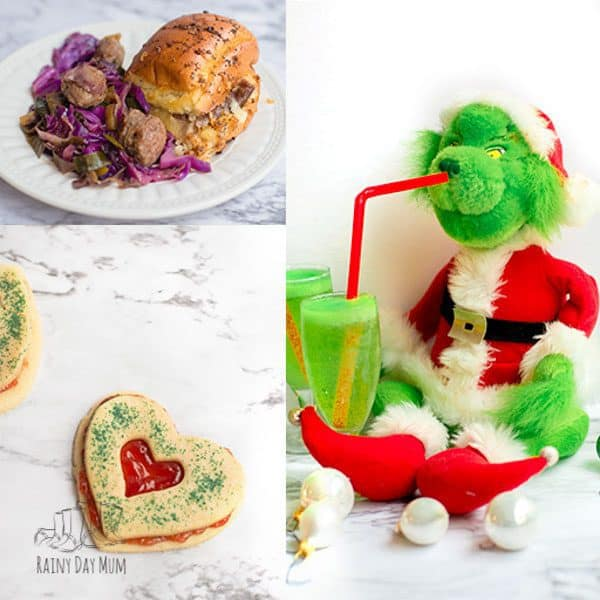 Throw your own How the Grinch Stole Christmas Family Movie Night with these recipes, drinks, snacks even style your hair like someone from Whoville!