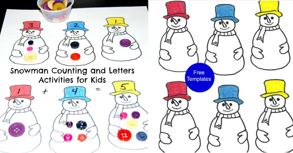 Snowman Button Counting plus further ideas for Early Years