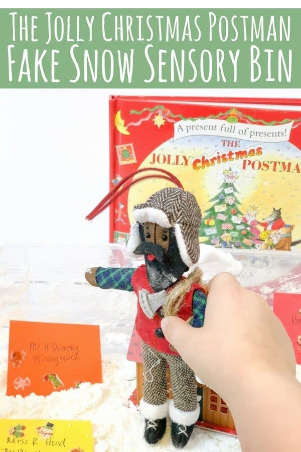 Full instructions on creating a Christmas Sensory Bin inspired by the classic children's Christmas book The Jolly Christmas Postman by Allan and Janet Ahlberg.
