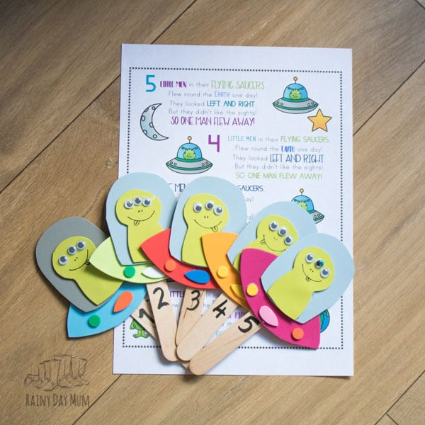 Make your own resources for singing this popular counting rhyme for toddlers and preschoolers with this step-by-step guide to creating your own Five Little Men in Their Flying Saucers Puppets. Ideal for Circle Time or Sing Along with your children.