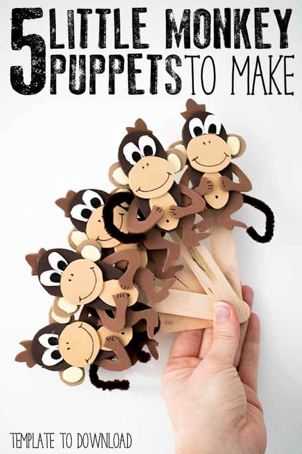 Get creative and make these 5 little monkey puppets to use when singing the popular children's rhyme Five Little Monkeys Jumping on the Bed. Template to create these easy craft foam puppets included to download.