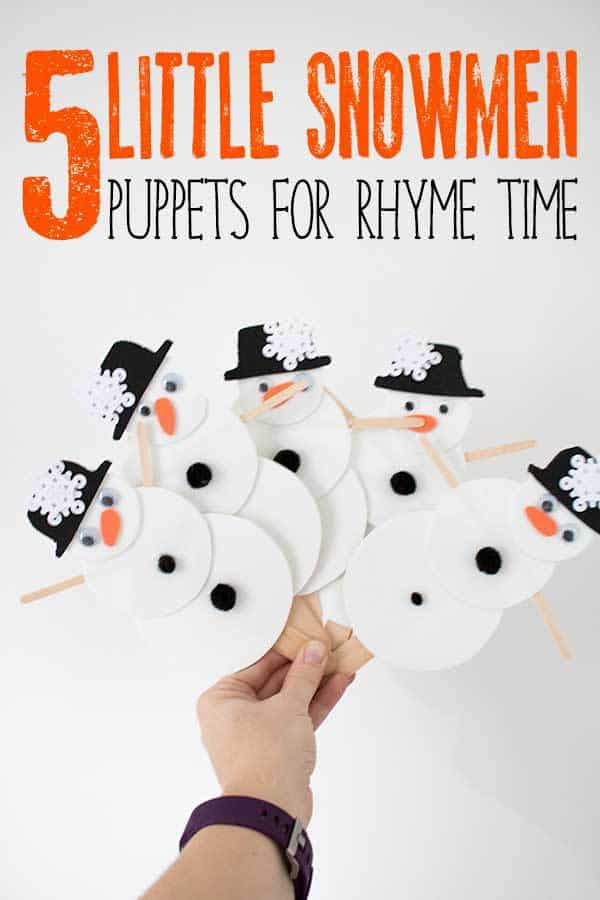 DIY Snowmen Puppets ideal for using when singing the Winter Nursery Rhyme Five Little Snowmen. Full step by step instructions to create puppets that toddlers and preschoolers can use for Winter Rhyme Time.