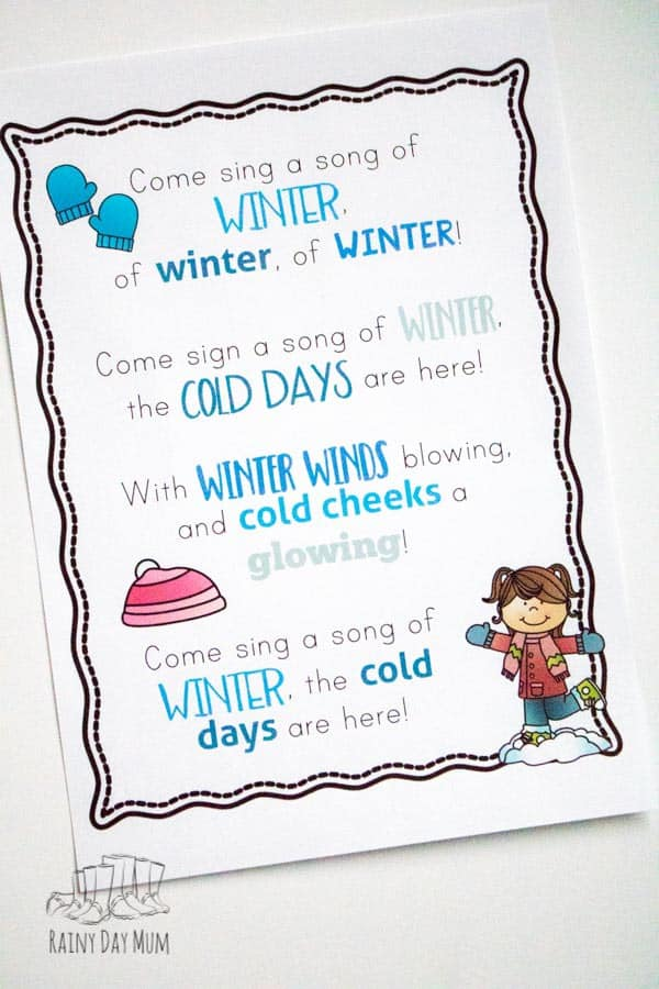 winter and snow themed nursery rhymes and songs